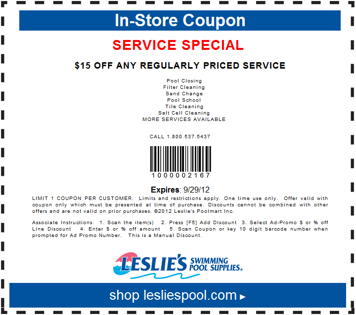 Coupons for national discount pool supplies