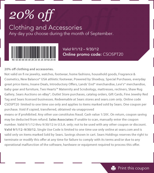 Sears clothing coupons