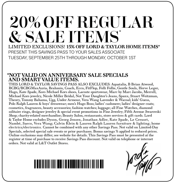 image regarding Lord and Taylor Coupons Printable named Lord and taylor price reduction coupon - Clean Shop Discounts