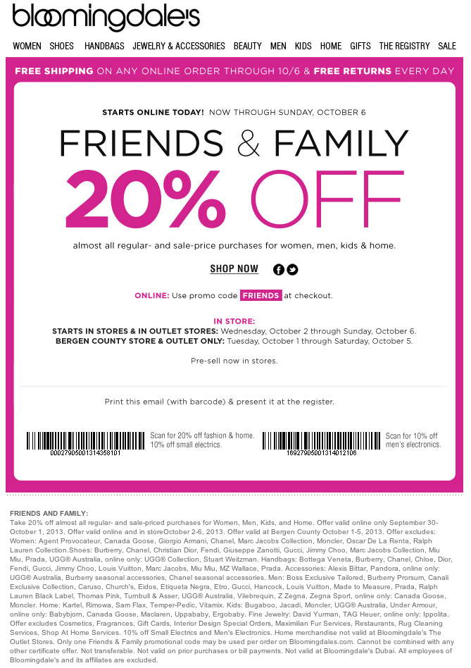 Details: Register for your wedding at Bloomingdale's and save 20% on any women's dress purchase in-store and online through your occasion date. Plus, get 10% off everything left on your registry for six months after your wedding (and 20% off a onetime purchase in the three months after the big day).