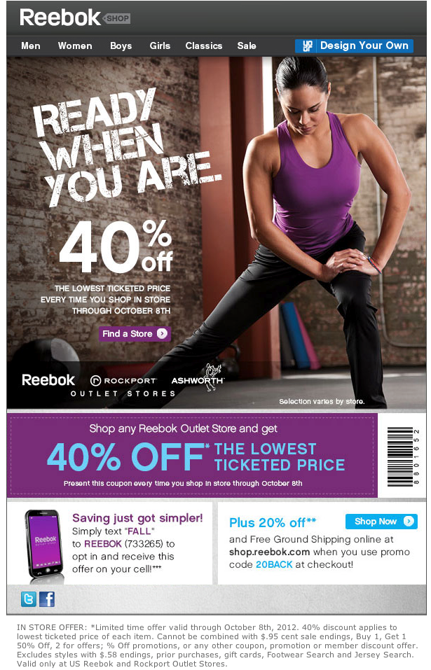 How to use Reebok Coupons Reebok offers free shipping and free returns on all orders except custom designs. You can sign up for their email list to have promotional offers sent to your inbox. Additional deals from Reebok can be found at maump3.ml
