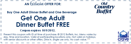 For all this, old country buffet offers low prices to its dining customers and amazing discounts too with the use of old country buffet coupons. Old country buffet has all the meals from breakfast, lunch, dinners and dessert, the old country buffet has it all. Old country buffet coupons.
