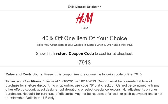 Hm coupon code