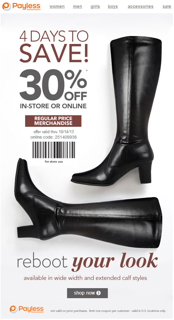 Payless 30 off coupon may 2018