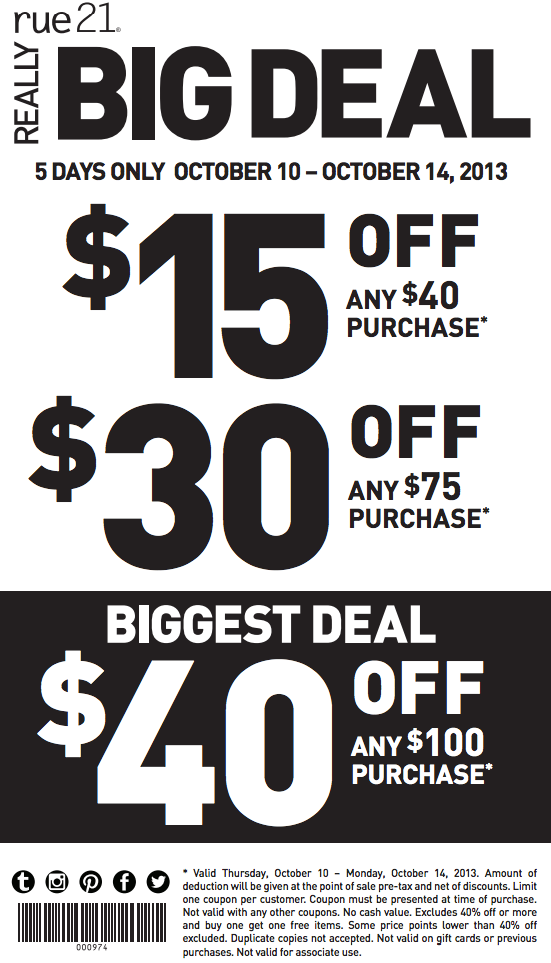 photograph regarding Rue 21 Coupons in Store Printable identified as rue21: $15-$40 off Printable Coupon