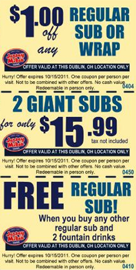 photograph about Jersey Mike's Printable Coupon titled Cost-free printable jersey mikes discount codes - Trophy nissan oil