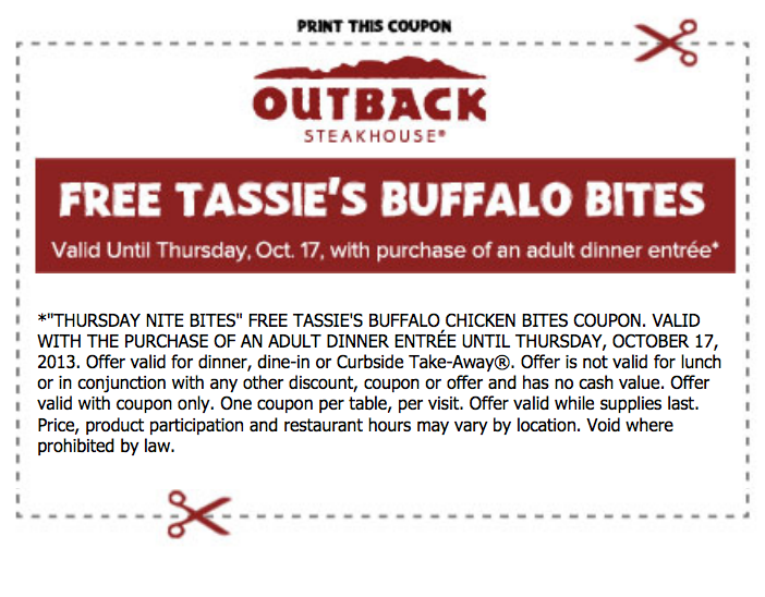 photo about Outback Coupons $10 Off Printable titled Outback steakhouse printable discount coupons november 2018 / Wcco