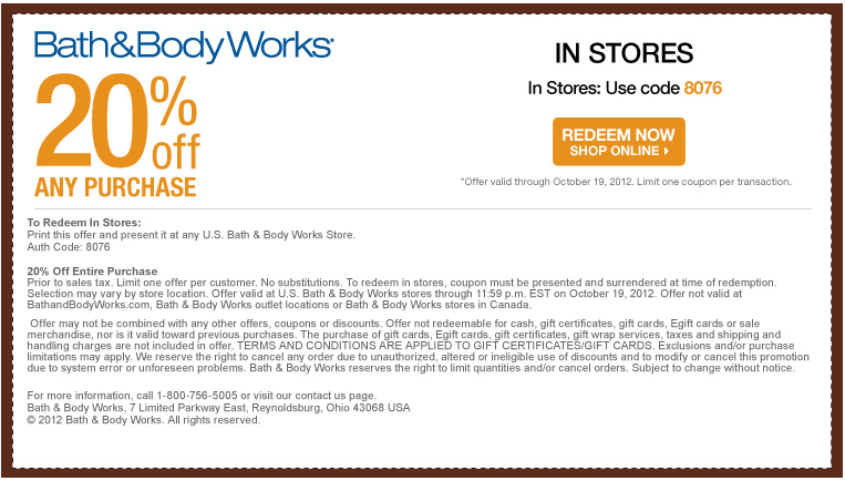 Bathandbodyworks com coupon code