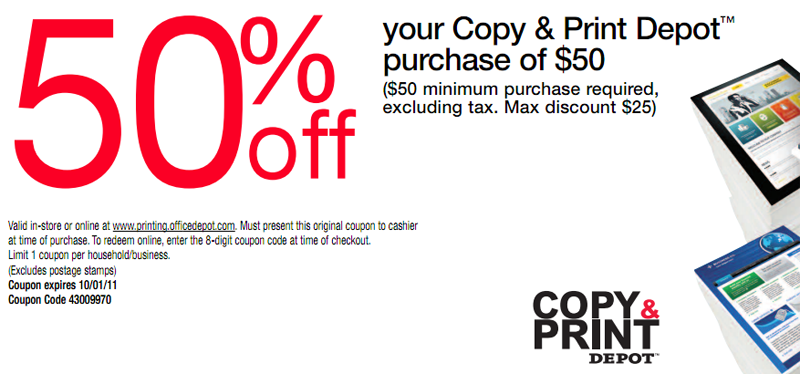 Office Depot 50 Off Copy Printable Coupon
