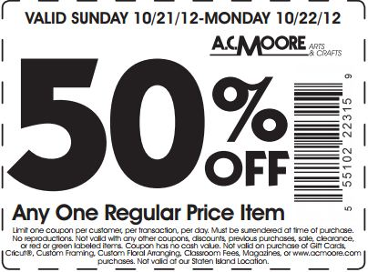 Ac moore discount coupon
