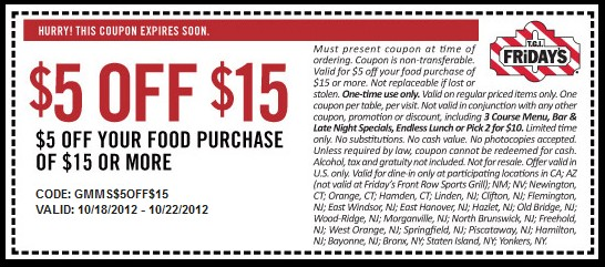 picture about Fridays Printable Coupon named Tgi fridays coupon 20 off / Bowling inexperienced in direction of nashville