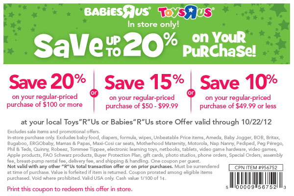 photo relating to Baby R Us Coupons Printable identified as Toys r us on line coupon 20 off - Las vegas demonstrate discounts 2018