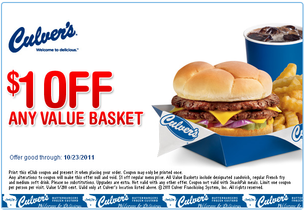 Culvers 1 Off Basket Printable Coupon