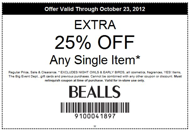 Sep 15, · In Store: 3 printable coupons for Bealls Texas stores, get 25% off when you use your store card, 20% off with any kind of payment and buy one clearance item get one free. Extra 50% Off Clearance Boots Printable Coupon: Buy boots in their clearance department and get 50% off/5(20).