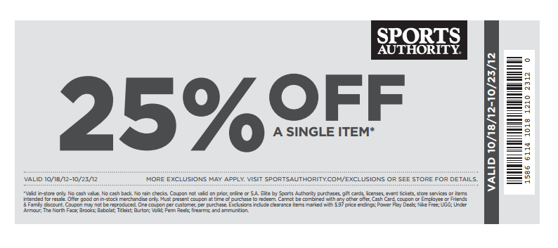 photograph about Sports Authority Coupons Printable referred to as 25 off athletics authority coupon 2018 : Dora coupon code