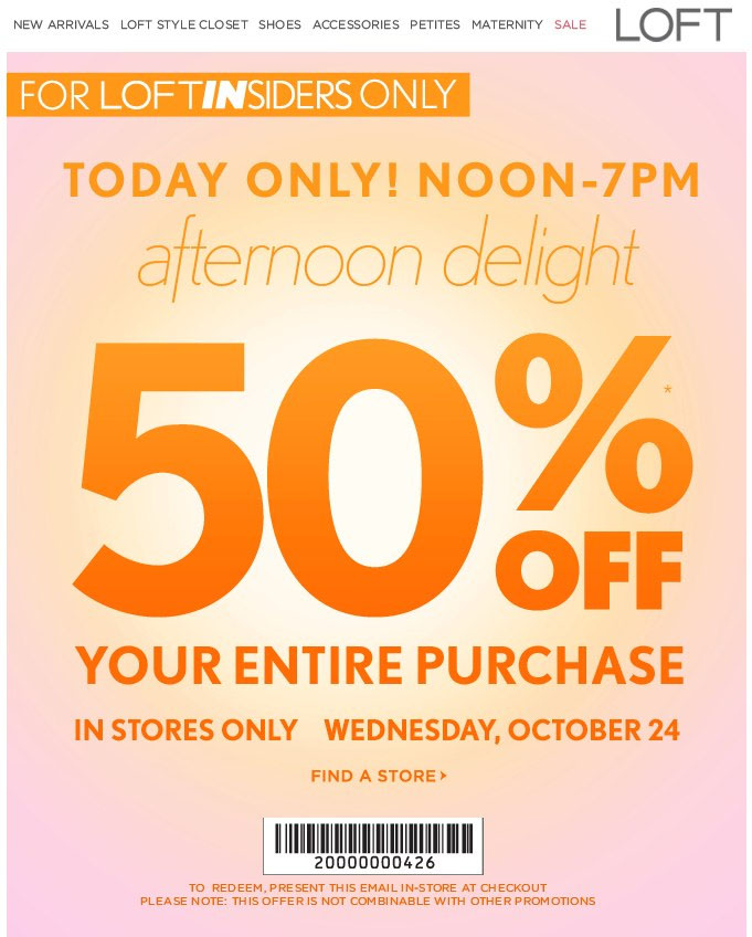 Ann taylor discount coupon