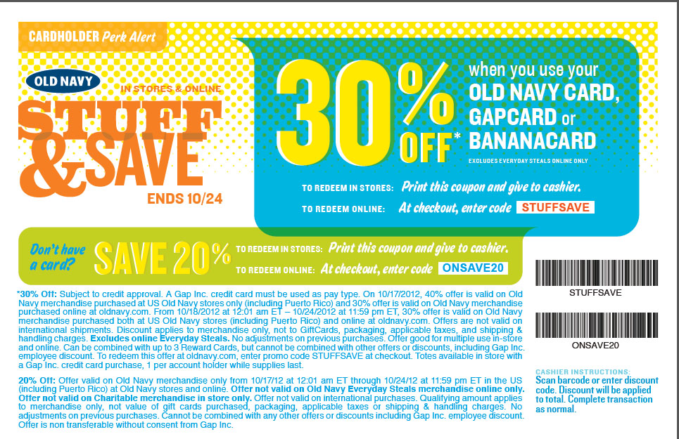 The Old Navy card allows you to get all sorts of benefits, including 20% off your first Old Navy purchase once you're approved for the card! You'll get five points for every dollar spent at Gap Inc. brands, including Gap, Old Navy, Banana Republic, and Athleta.4/5().