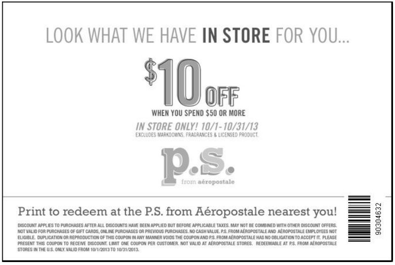 aeropostale coupon codes 10 off 50