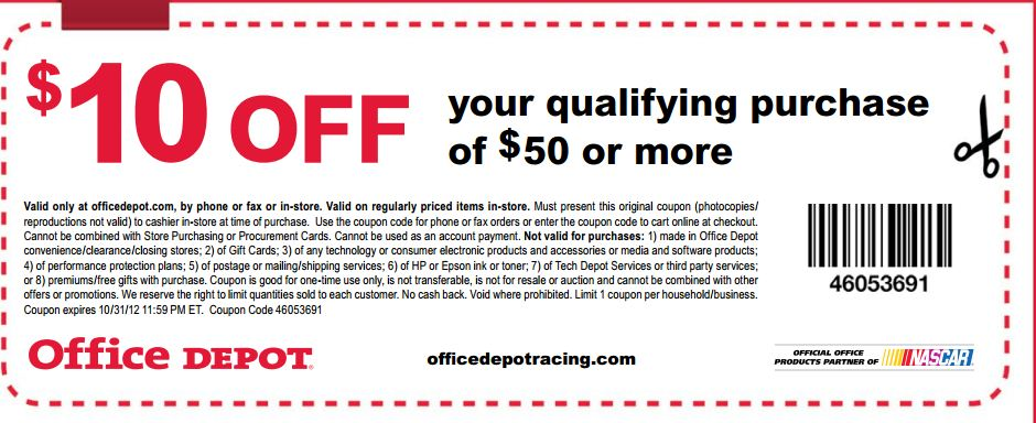 depot $ 10 off $ 50 printable coupon see all office depot coupons