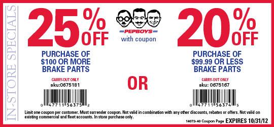 Pep Boys: 20%-25% off Brake Parts Printable Coupon