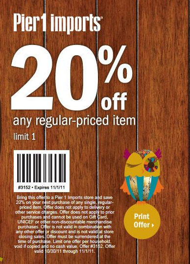 Pier 1 imports free printable coupons