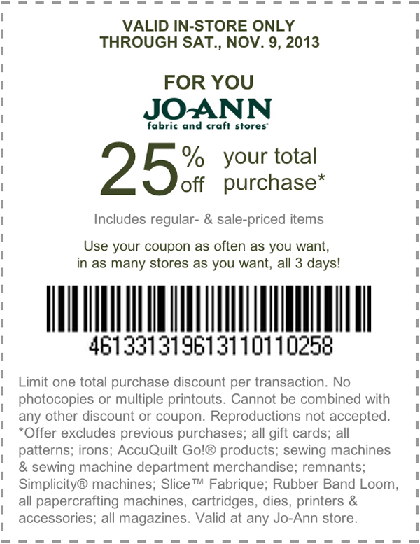Joann fabric coupons 60 off