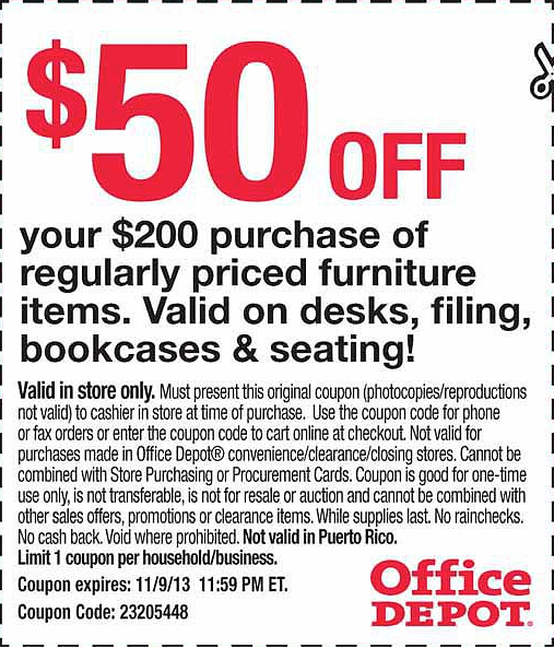 Office Depo Office Depot 50 Off 200 Printable Coupon