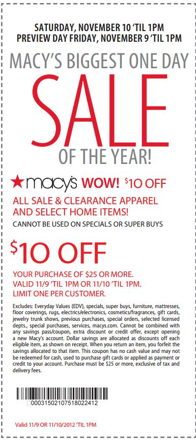 Macy's department store coupons