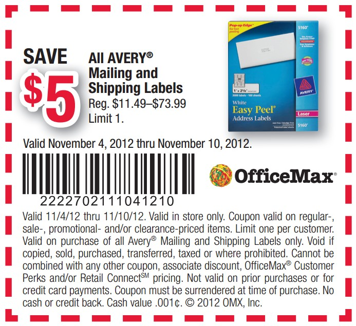 officemax 5 off avery labels printable coupon