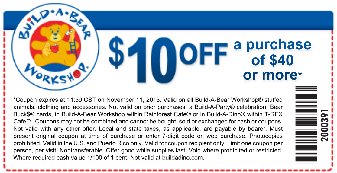 Build A Bear Coupons  Off  Printable