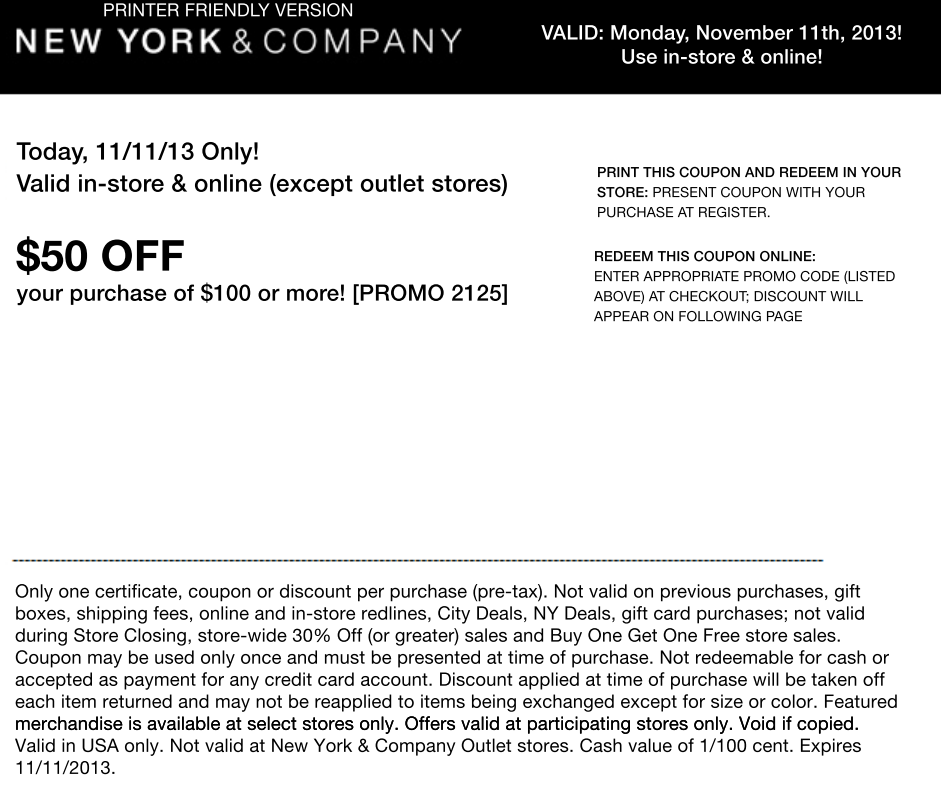 New York & Company's Runway Rewards program is exclusively for NY&C credit card holders. Members will earn $10 to $20 for every $ spent, which can be combined with sales and coupons when redeemed. If you don't want to open a credit card to get great savings, simply sign up for the New York & Company email list.