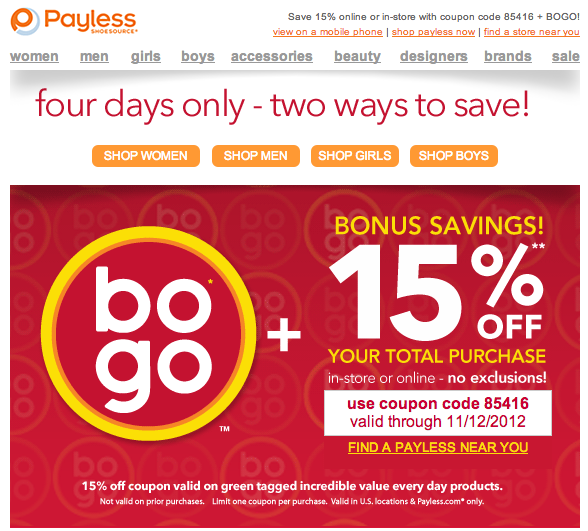 Payless discount coupon