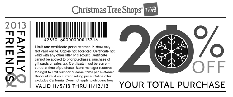 Christmas tree discount coupons