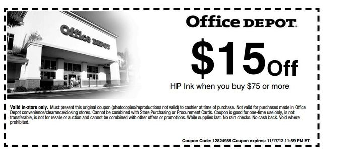Office depot 15 off 75 hp ink printable coupon - Office depot discount code ...