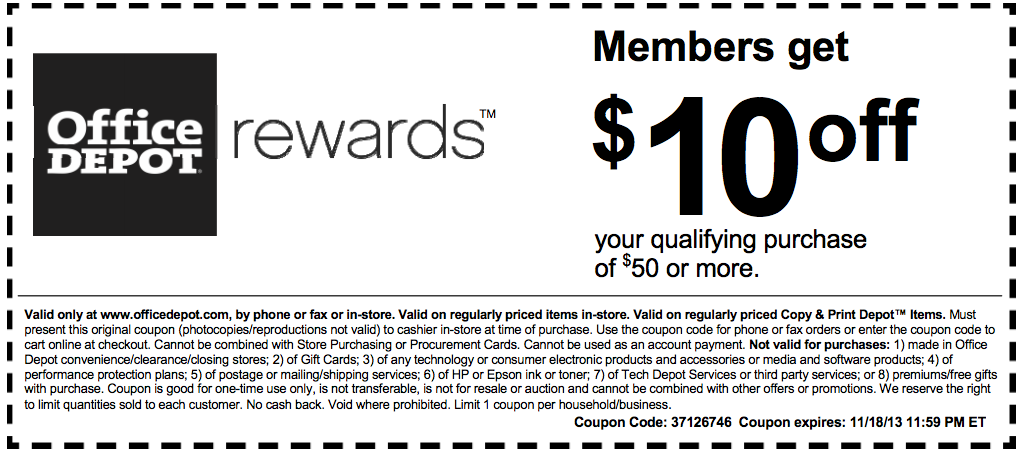 Office depot 10 off 50 printable coupon - Office depot discount code ...