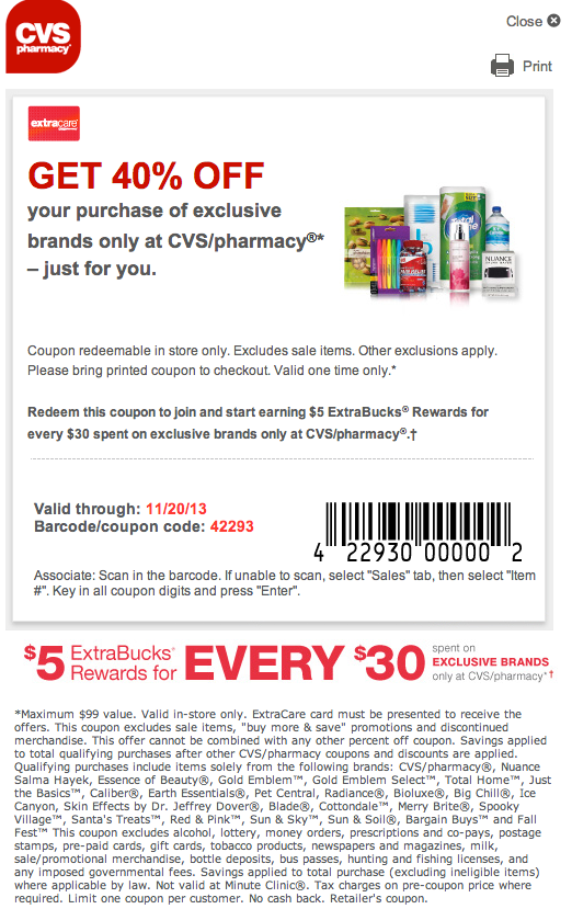 Cvs Pharmacy Coupons >> CVS Pharmacy: 40% off Exclusive Brands Printable Coupon