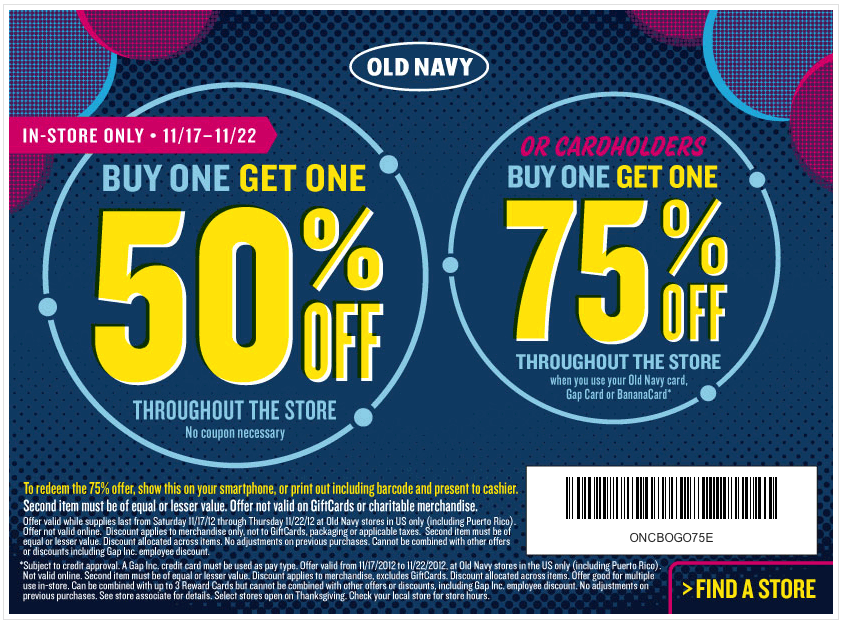 Old navy coupons barcode