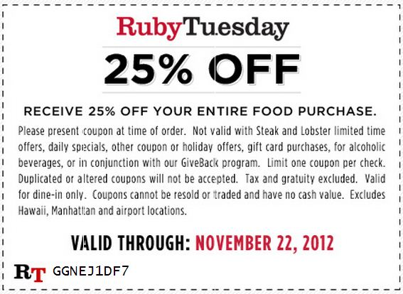 Ruby tuesday discount coupons