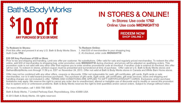 Bath and body works is offering $10 off orders of $30 or more! Just enter this code at online checkout. This code is combinable with other Top Offers More.