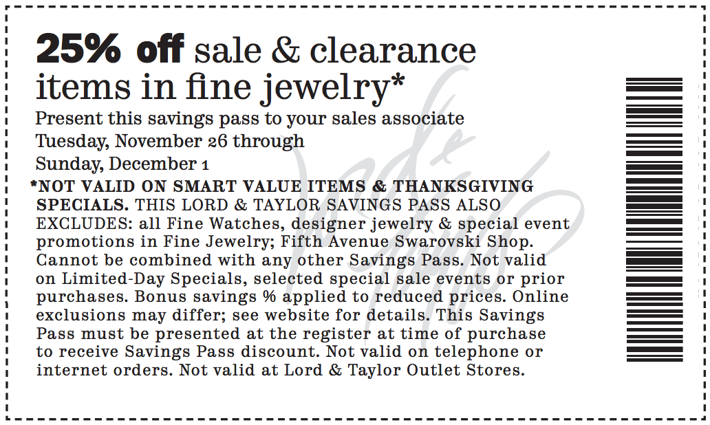 25 off lord and taylor coupon : Family hotel deals sydney