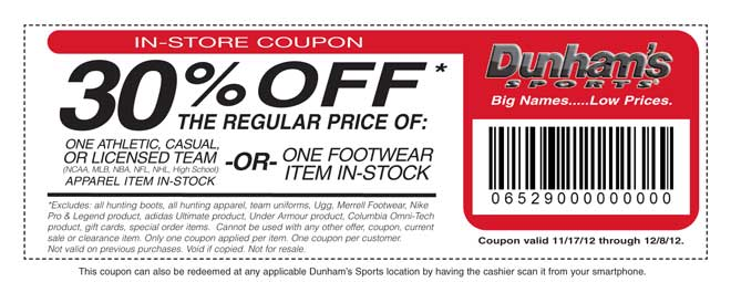Dunhams Sports: 30%  off Printable Coupon