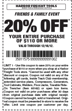 Harbor Freight Tools: 20% off $110 Printable Coupon