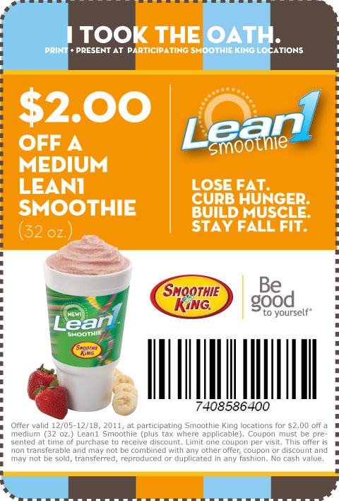 Join Healthy Rewards at Smoothie King and receive a buy-one-get-one-free coupon for a smoothie for only $! Members will receive all the latest coupons, health tips, and exclusive offers from Smoothie King, including refreshing and healthy birthday deals! Members will receive a birthday coupon for a 20oz smoothie for just $!