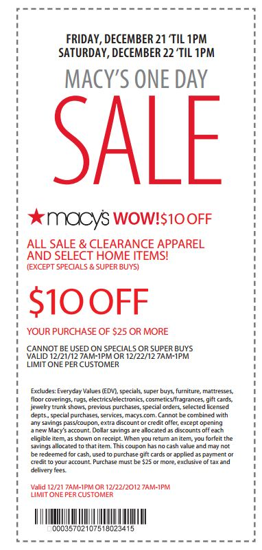 Macy's coupons on phone