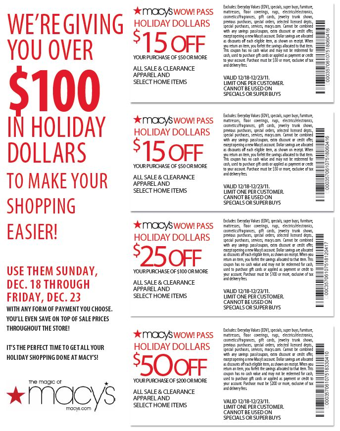 Macys Coupons & Promo Codes website view Macy's is one of the largest department stores in the USA, offering clothing, accessories, jewelry, beauty, shoes and housewares. Macy's is known for its niche in popular culture and the diversity of its merchandise.