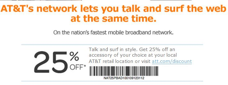 AT&T: 25% off Accessory Printable Coupon