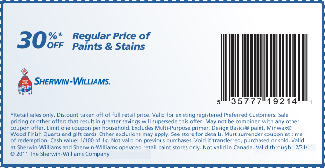 Sherwin williams discount coupon