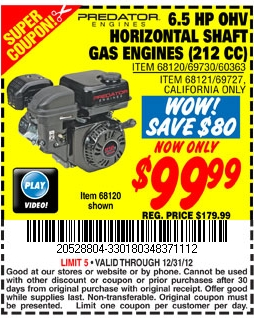 Gas Engines: Gas Engines At Harbor Freight