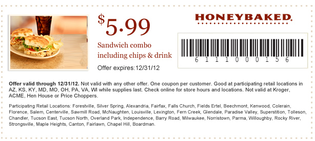 honeybaked ham 599 sandwich combo printable coupon