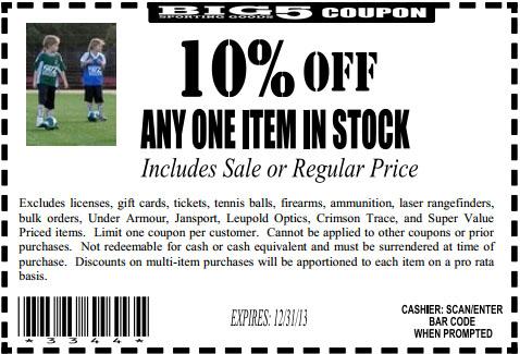 Discount coupons big 5